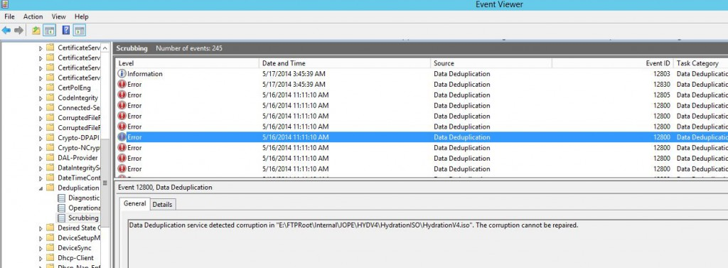 Data Deduplication Errors