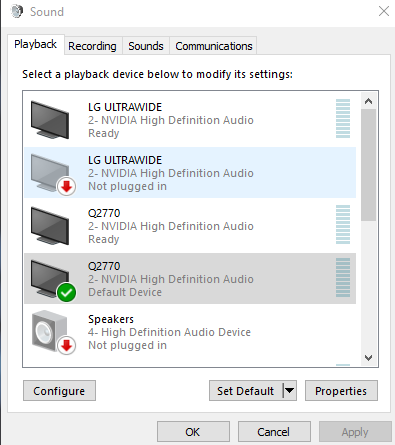 high definition audio device not working